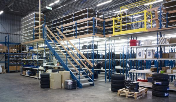 mezzanine-tyre-storage-stairs-safety-gate